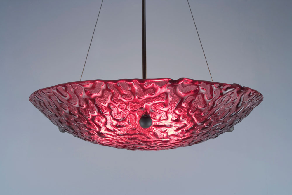 Shown in bronze hardware and Phantom texture, Red glass.