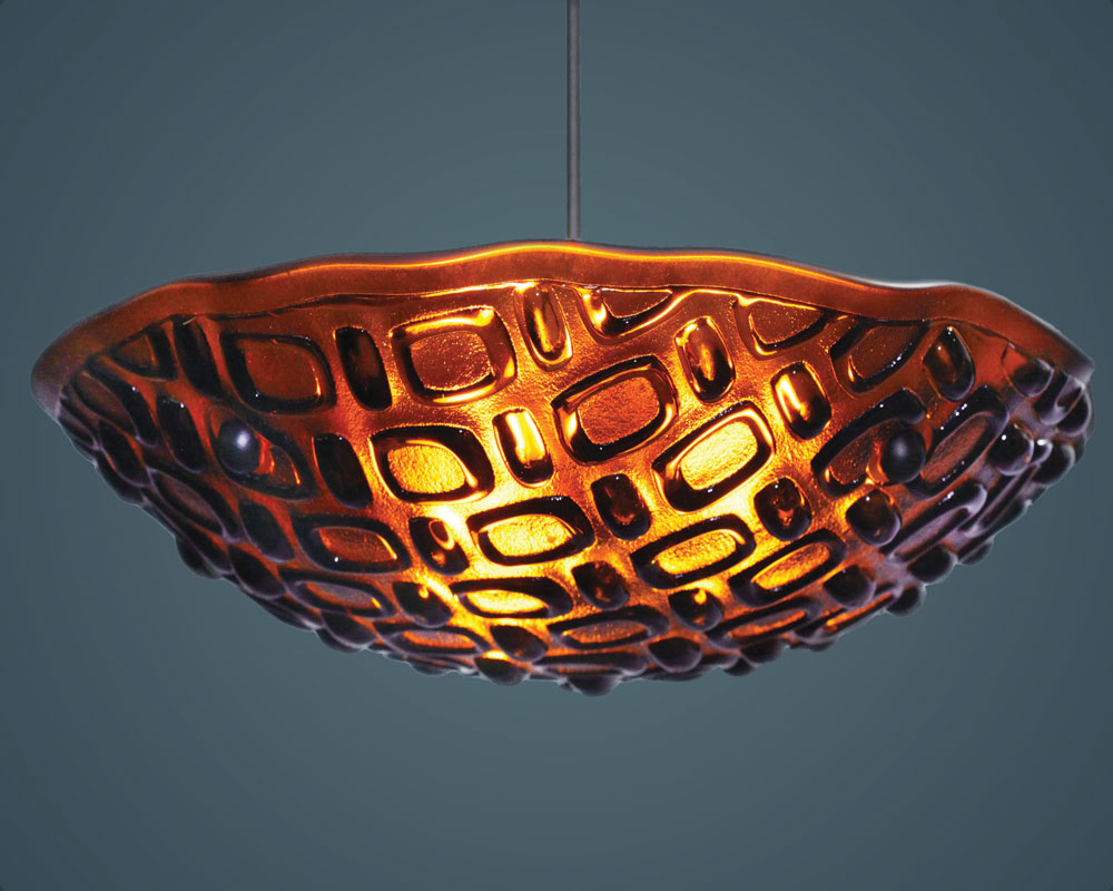 Shown in bronze hardware and Vision texture, Dark Amber glass.