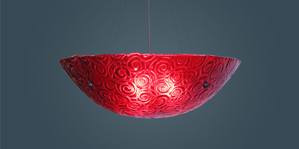 Shown in bronze hardware and Whirlpool texture, Red glass.