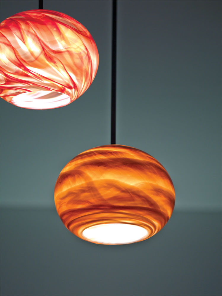 Shown in Amber glass (bottom) and Red Hot (top)