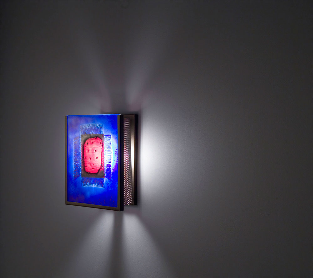 Shown in Bronze with Red Window Blue glass selection and light diffuser.