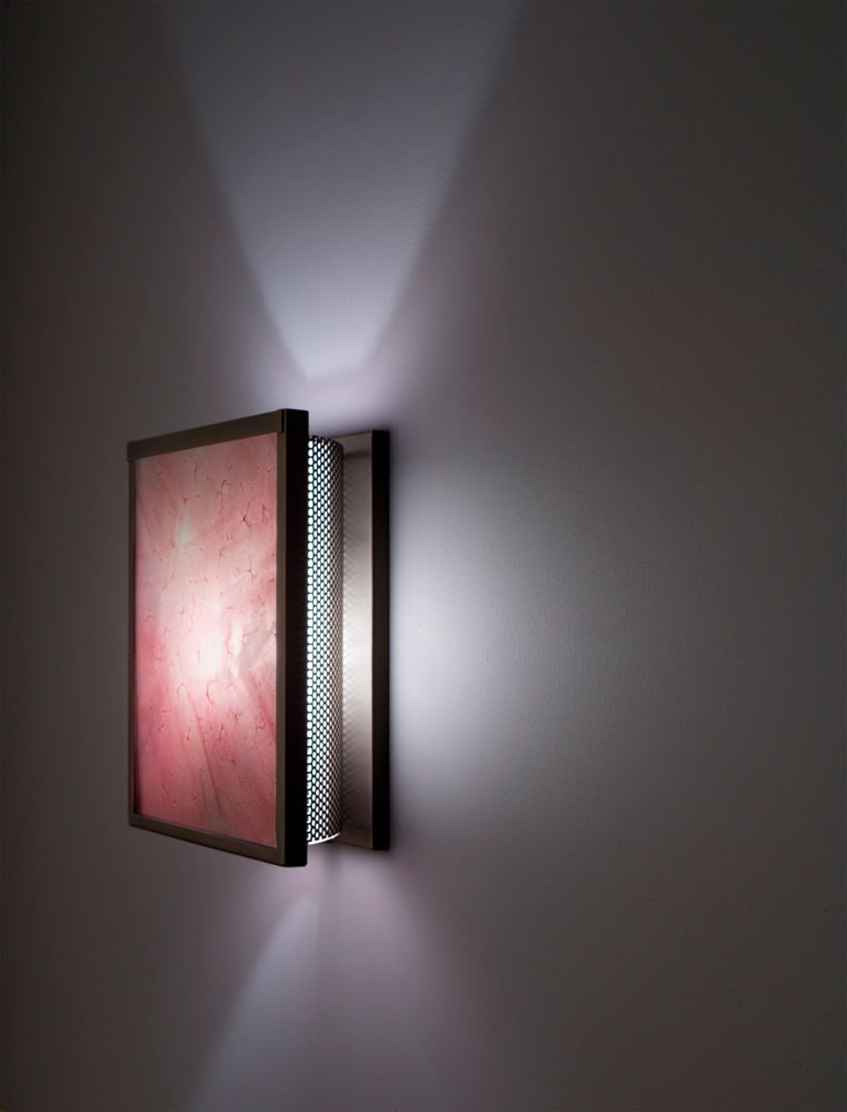 Shown in Bronze with Blush glass selection and light diffuser.