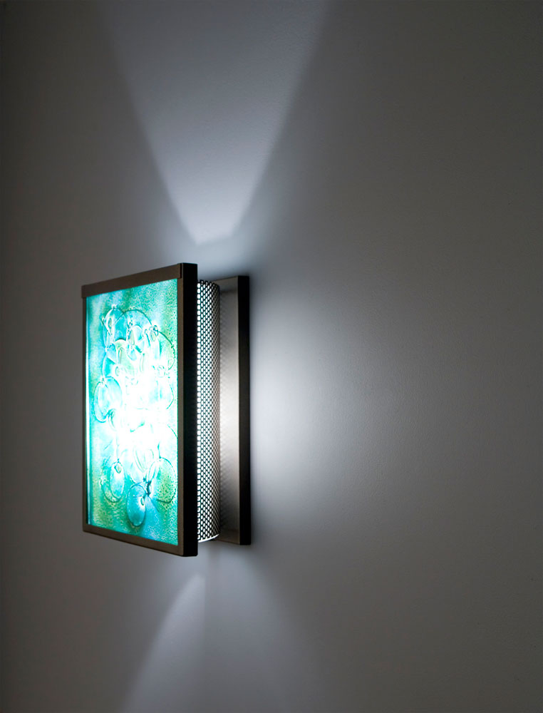 Shown in Bronze with Wired Green glass selection and light diffuser.