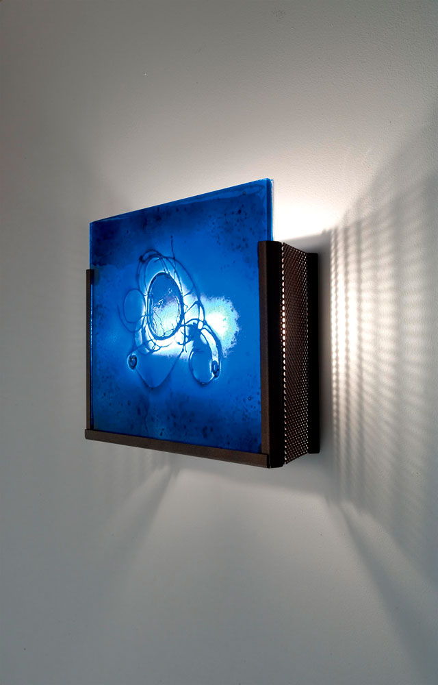 Shown  in Bronze with Wired Blue glass selection.